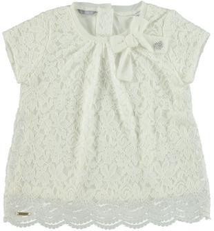 Elegante blusa in jersey stretch di viscosa doppiata con pizzo sarabanda PANNA-0112