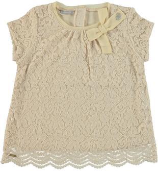 Elegante blusa in jersey stretch di viscosa doppiata con pizzo sarabanda BEIGE-1033