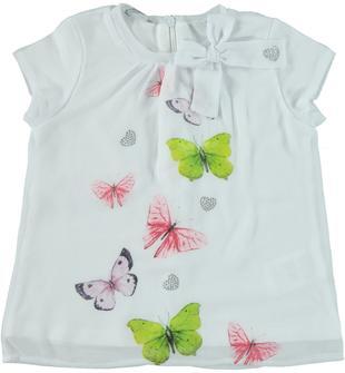 Maxi t-shirt in jersey stretch di cotone con farfalle glitterate sarabanda BIANCO-0113