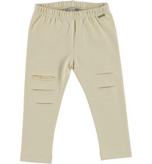 Leggings in jersey stretch di cotone con rotture sarabanda BEIGE-1033