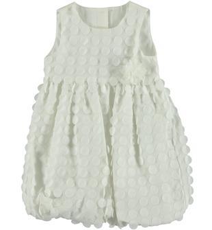 Elegante vestitino in raffinato e morbido voile con pois 3D sarabanda PANNA-0112