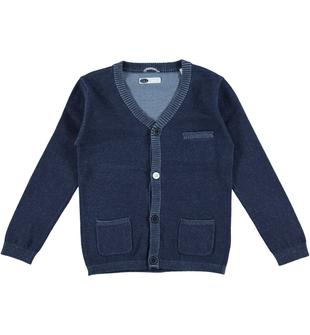 Cardigan in tricot 100% cotone con toppe ai gomiti sarabanda NAVY-3854