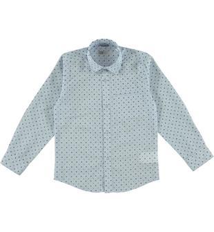 Classica camicia a manica lunga in raffinato tessuto fil a fil con fantasia geometrica sarabanda AZZURRO-BLU-6T65