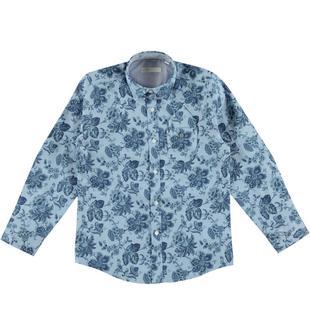 Camicia fantasia floreale in oxford 100% cotone sarabanda AVION-BLU-6T50