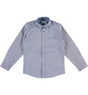 Classica ed elegante camicia fil a fil in fantasia jacquard 100% cotone sarabanda NAVY-3547