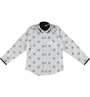 Raffinata camicia a manica lunga in satin stretch 100% cotone sarabanda BIANCO OTTICO-BLU-6Q87