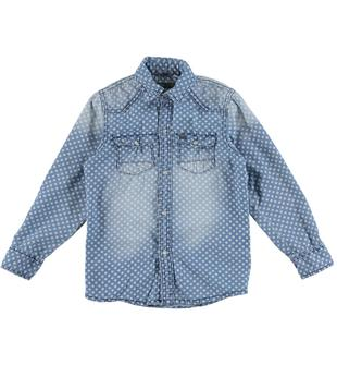 Camicia a manica lunga in denim leggero stampata all over con motivo quadrifoglio sarabanda DENIM-PANNA-6T62