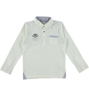 Elegante polo a manica lunga in jersey stretch di cotone sarabanda PANNA-0112