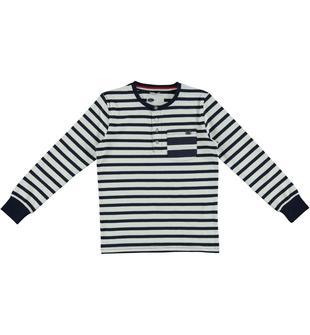 Maglietta rigata a manica lunga in jersey stretch di cotone tinto filo sarabanda NAVY-3854