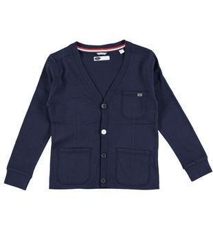Cardigan in jersey 100% cotone con toppe in tono ai gomiti sarabanda NAVY-3854
