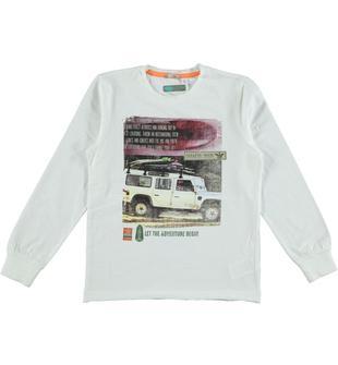 Maglietta in jersey malfilè 100% cotone con stampa fotografica frontale sarabanda BIANCO-0113