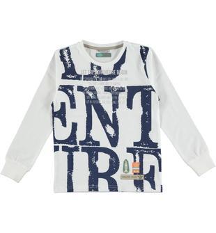 Maglietta in jersey 100% cotone con stampa frontale sarabanda BIANCO-0113