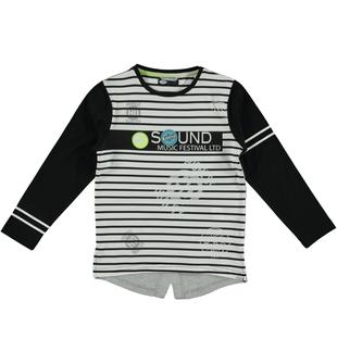 Maglietta oversize in jersey 100% cotone arricchita da scritte frontali sarabanda BIANCO-NERO-6T73