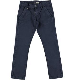 Pantalone in twill stretch di cotone modello chino slim fit sarabanda NAVY-3854