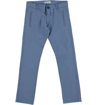 Pantalone slim fit in gabardina di cotone con fantasia micro stampata sarabanda AVION-3642