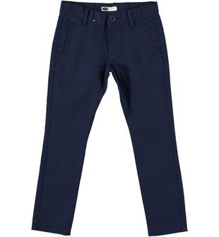 Pantalone slim fit in piquet di cotone con tasche a filetto sarabanda NAVY-3854