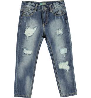 Jeans cavallo calato delavato e strappato sarabanda SOVRATINTO BEIGE-7754