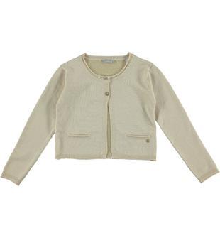 Cardigan in tricot misto viscosa arricchito da fili lurex sarabanda BEIGE-1033