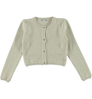 Cardigan corto lavorazione operata in tricot 100% cotone sarabanda BEIGE-1033