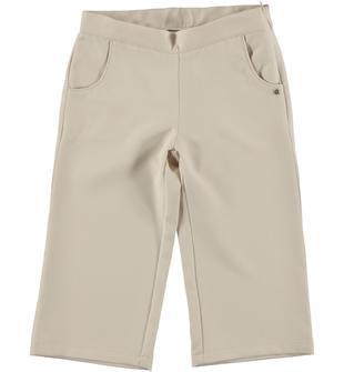 Pantalone modello cropper in morbido e raffinato tessuto sarabanda BEIGE-1033