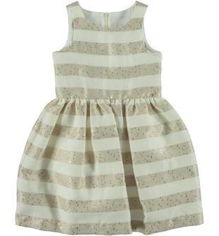 Elegante vestitno in raffinato tessuto a strisce orizzontali con paillettes nella trama sarabanda BEIGE-1033