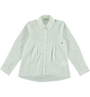 Camicia a manica lunga in popeline stretch di cotone sarabanda BIANCO-0113