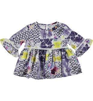 Camicia in fresco, fluido e leggero tessuto di viscosa con fantasia floreale sarabanda BIANCO-MULTICOLOUR-6U09