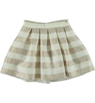 Elegante gonna in raffinato tessuto a strisce orizzontali con paillettes laminate nella trama sarabanda BEIGE-1033
