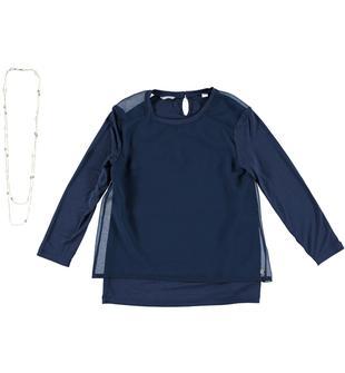 Maglietta in jersey stretch di viscosa con trasparenze sulla spalla sarabanda NAVY-3547