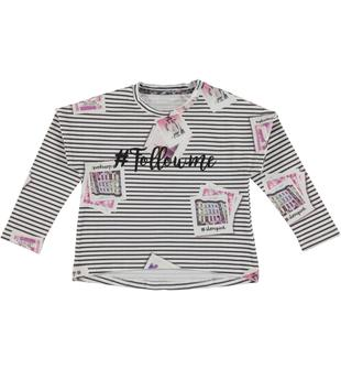 Maxi maglietta fantasia rigata arricchita da foto sparse e scritta sarabanda BIANCO-MULTICOLOUR-6T72