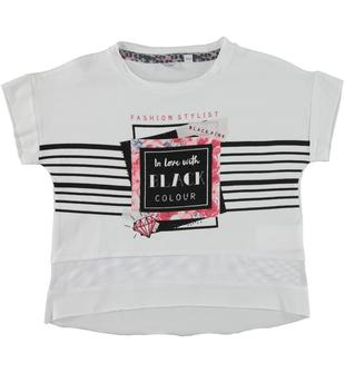T-shirt in jersey stretch di cotone arricchita da serigrafia frontale sarabanda BIANCO-0113