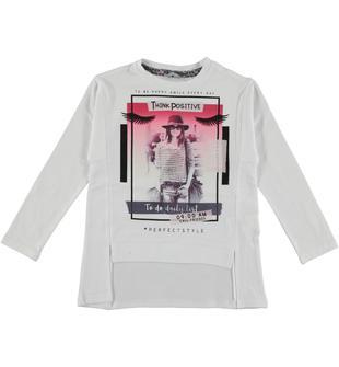 Maxi maglietta in jersey stretch di cotone decorata frnotalmente e illuminata da strass sarabanda BIANCO-0113