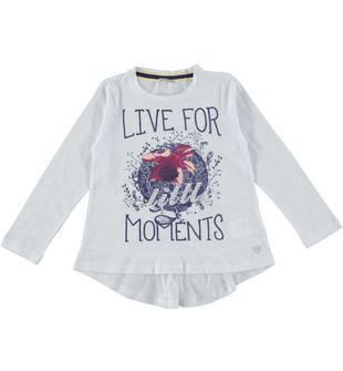 Maxi maglietta in jersey malfilè 100% cotone sarabanda BIANCO-0113