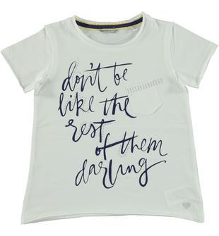 T-shirt svasata in jersey di cotone con serigrafia frontale sarabanda BIANCO-0113