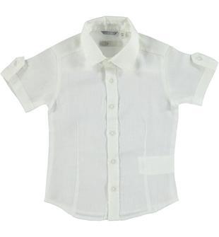 Camicia a manica corta 100% lino sarabanda BIANCO-0113