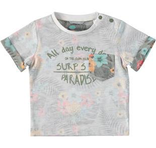 T-shirt in jersey misto cotone con fantasia floreale sarabanda BIANCO-VERDE-6Q54