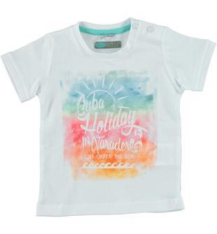 T-shirt in jersey 100% cotone con stampa ispirata alle vacanze a cuba sarabanda BIANCO-0113