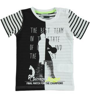 T-shirt in jersey 100% cotone arricchita da stampa ispirata al basket sarabanda BIANCO-0113