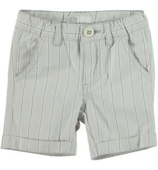 Pantaloncino rigato in popeline stretch di cotone tinto filo sarabanda TORTORA-0521