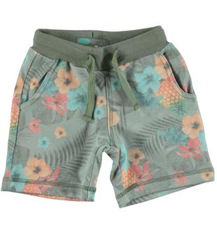 Pantaloncino floreale in felpa misto cotone non garzata sarabanda VERDE-VERDE-6U55