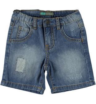 Pantaloncino in denim 100% cotone effetto delavato e consumato sarabanda BLU LAVATO-7152