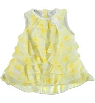 Graziosa blusa con balze godet di voilè floreale sarabanda PANNA-GIALLO-6U40