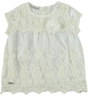 Raffinata blusa a manica corta in tulle ricamato con motivo floreale sarabanda PANNA-0112