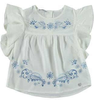 Graziosa blusa in morbida viscosa con stampa motivo floreale sarabanda BIANCO-0113