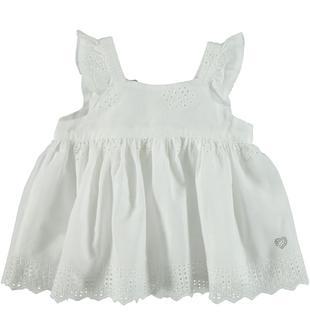 Camicia in morbida tela 100% cotone ricamata con motivo floreale sarabanda BIANCO-0113