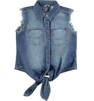 Grintosa camicia in denim leggero effetto delavato sarabanda BLU CHIARO LAVATO-7310