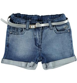 Shorts in felpa denim arricchito da sabbiature sarabanda STONE WASHED-7450