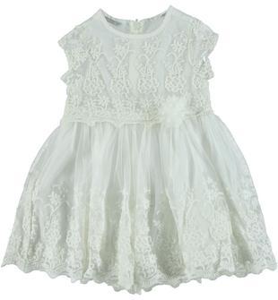 Elegante vestitino in tulle color crema ricamato con motivo floreale sarabanda PANNA-0112