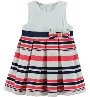 Grazioso vestitio in popeline stretch di cotone con motivo a strisce sarabanda BIANCO-CORALLO-6U49