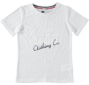T-shirt in jersey di cotone con stampa frontale effetto solcato sarabanda BIANCO-0113
